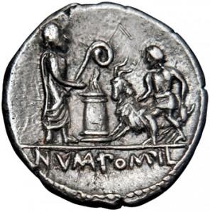 Monnaie de type RRC 334/1, montrant, au revers, Numa sacrifiant à Apollon