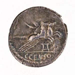 """Monnaie montrant, au revers, un attelage de """"desultor"""""""